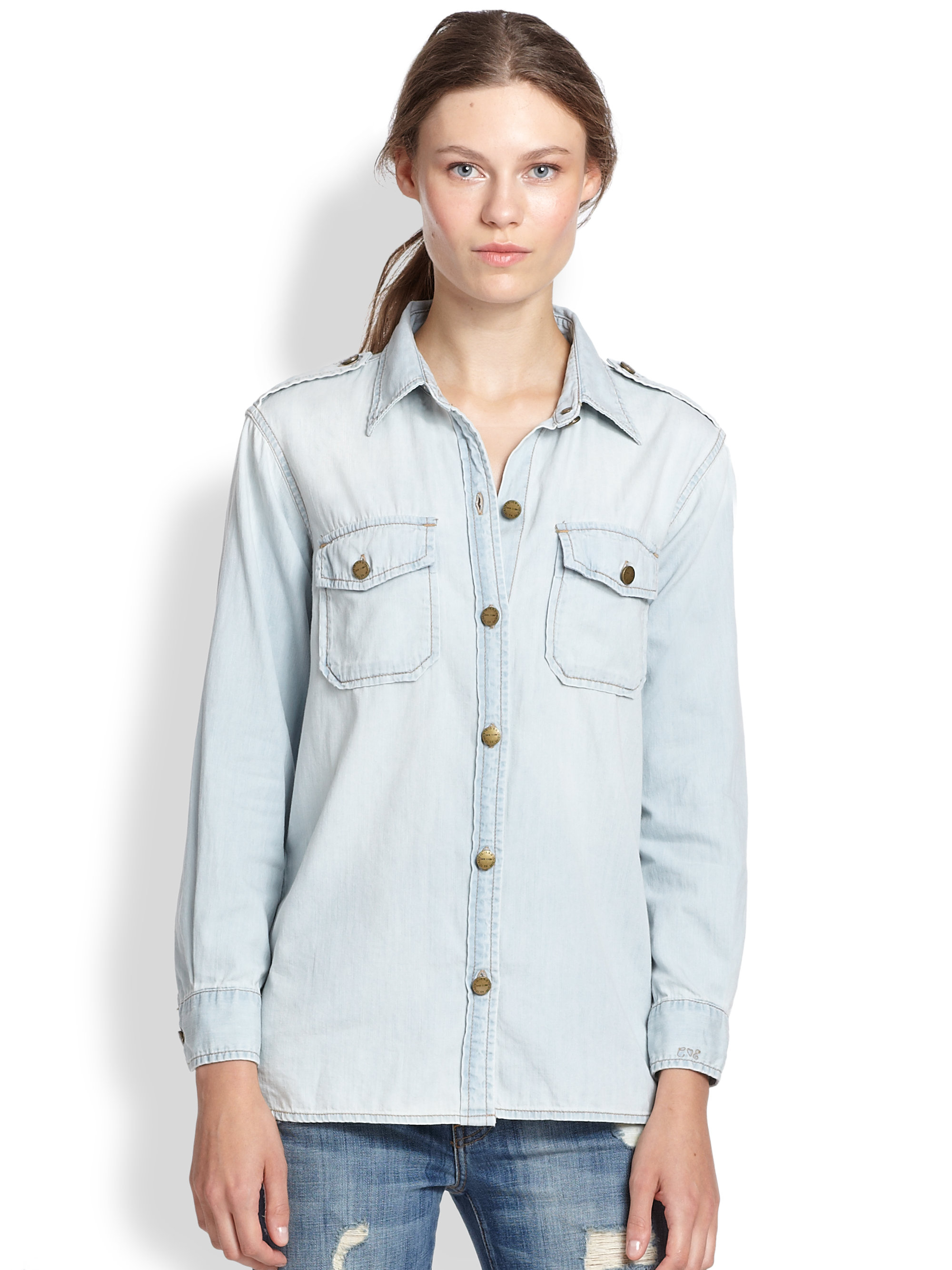 current elliott the perfect denim shirt in blue lyst