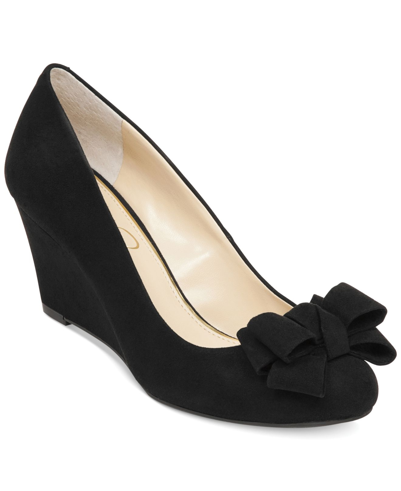 Jessica simpson Sheryl Bow Wedges in Black | Lyst