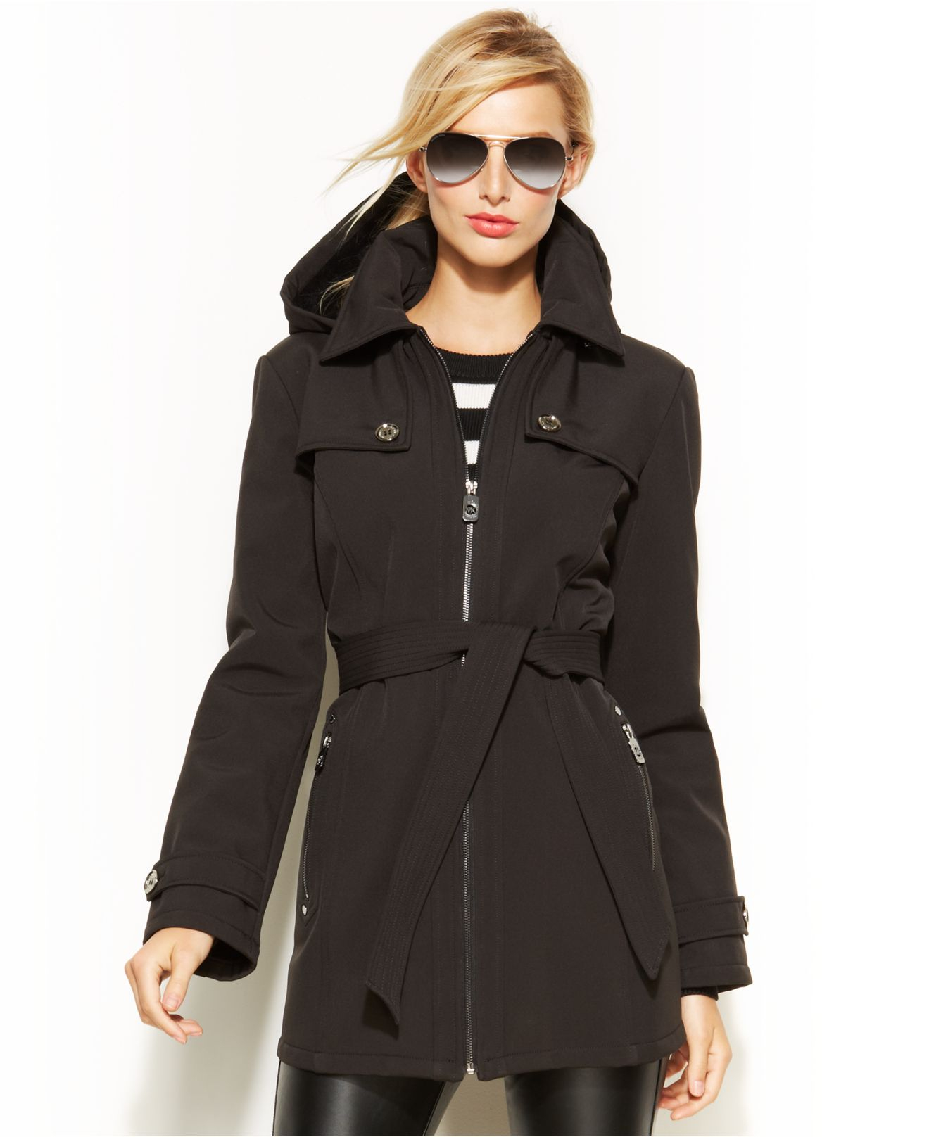 Michael kors Michael Hooded Belted Soft-Shell Coat in Black | Lyst
