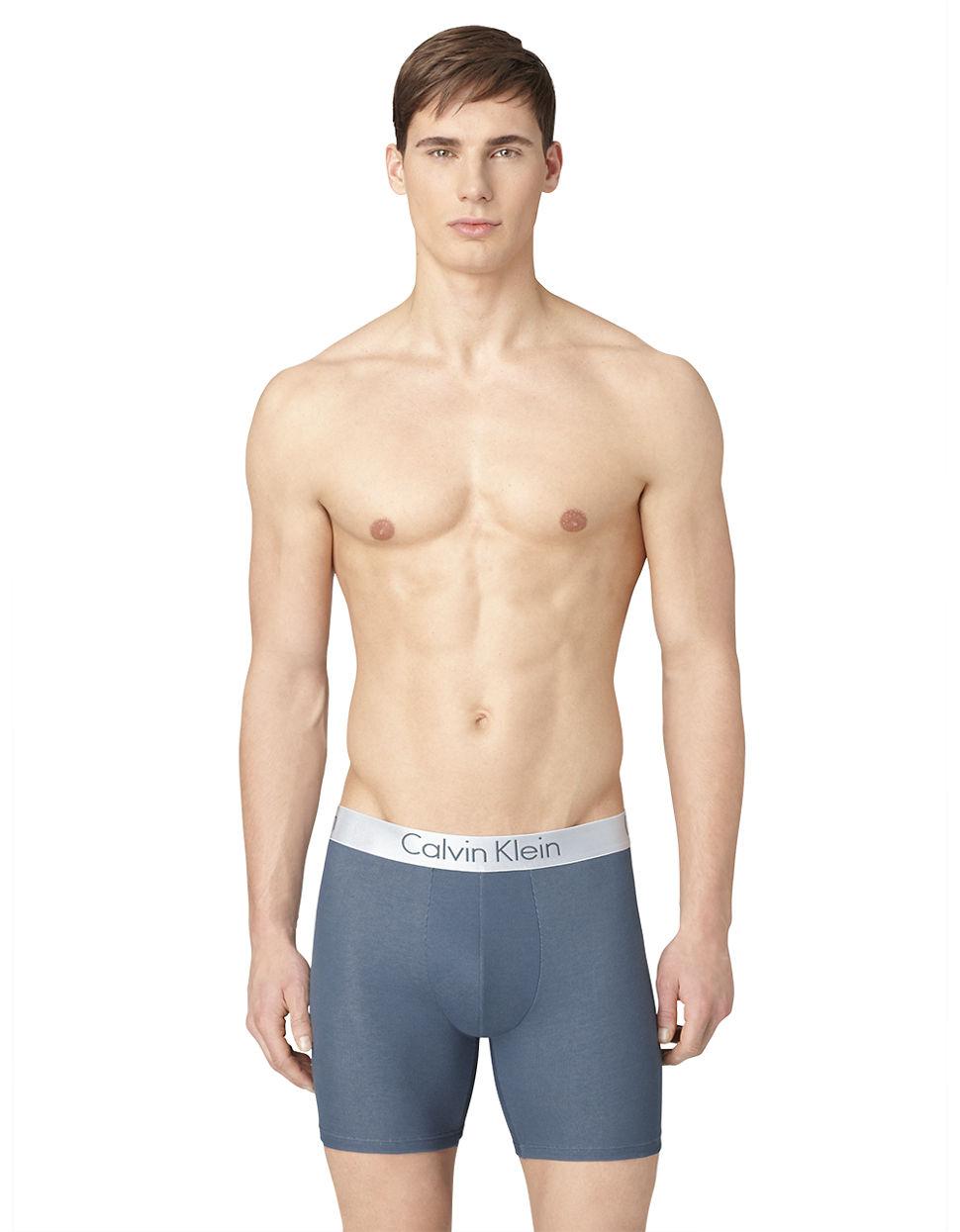 calvin klein dual tone logo boxer brief shorts in blue for. Black Bedroom Furniture Sets. Home Design Ideas