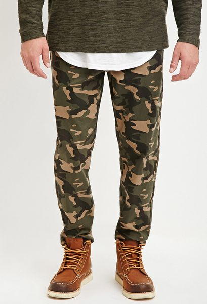 Fantastic Forever 21 Stretchy Camo Pants In Green (Dark Olive/taupe ...