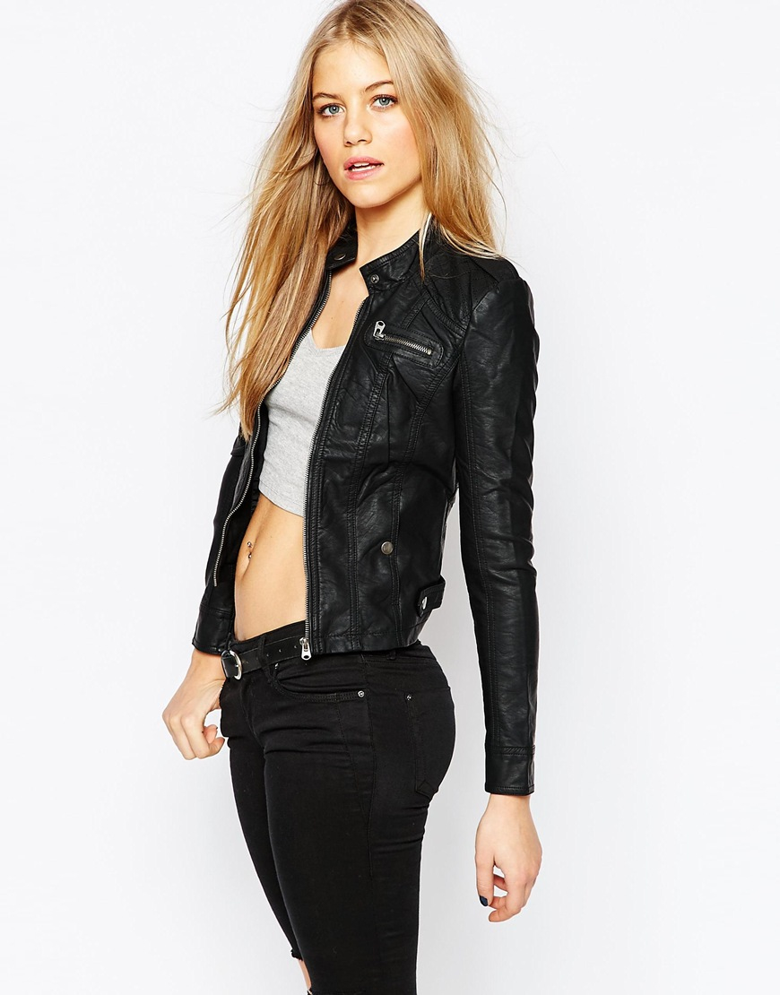 Vero Moda Leather Look Collarless Jacket In Black