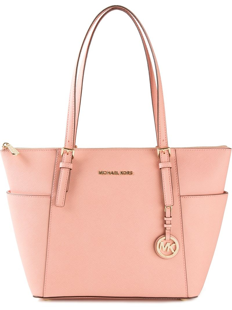 5d5879bf4588 MICHAEL Michael Kors 'Jet Set' Top Zip Tote in Pink - Lyst
