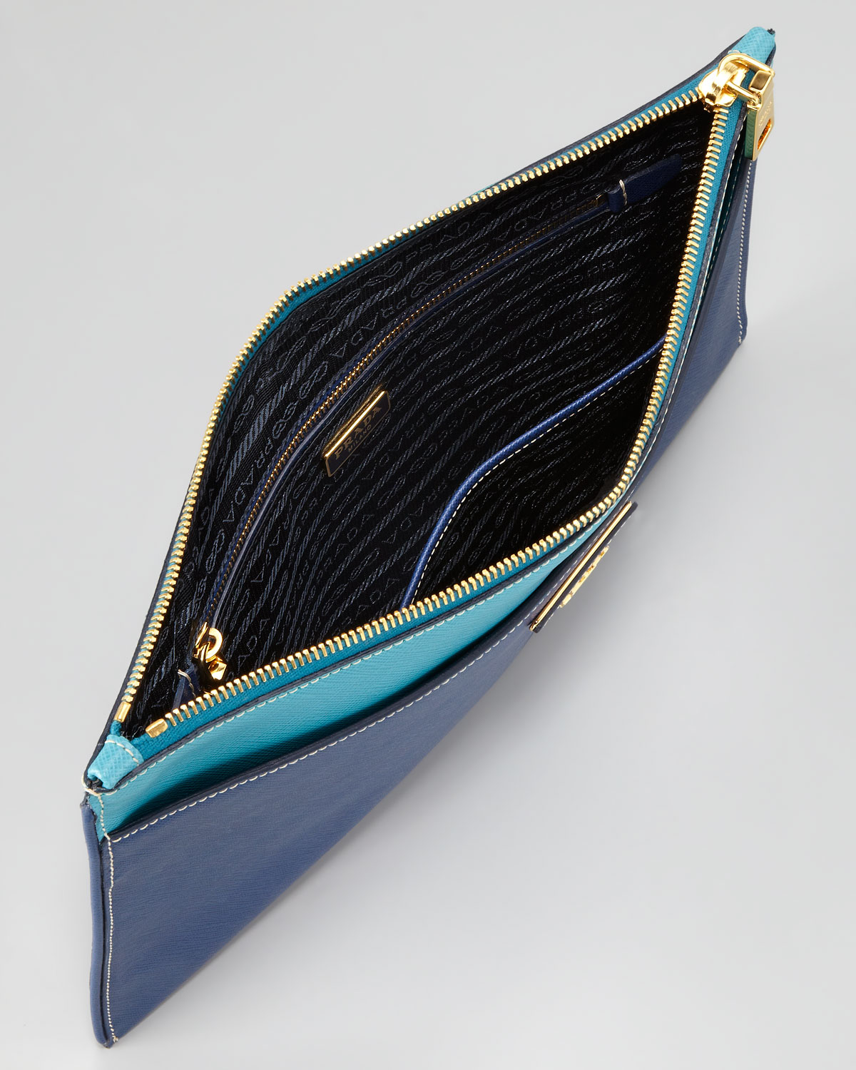 Prada Saffiano Bicolor Pouch in Blue (bluette turchese) | Lyst