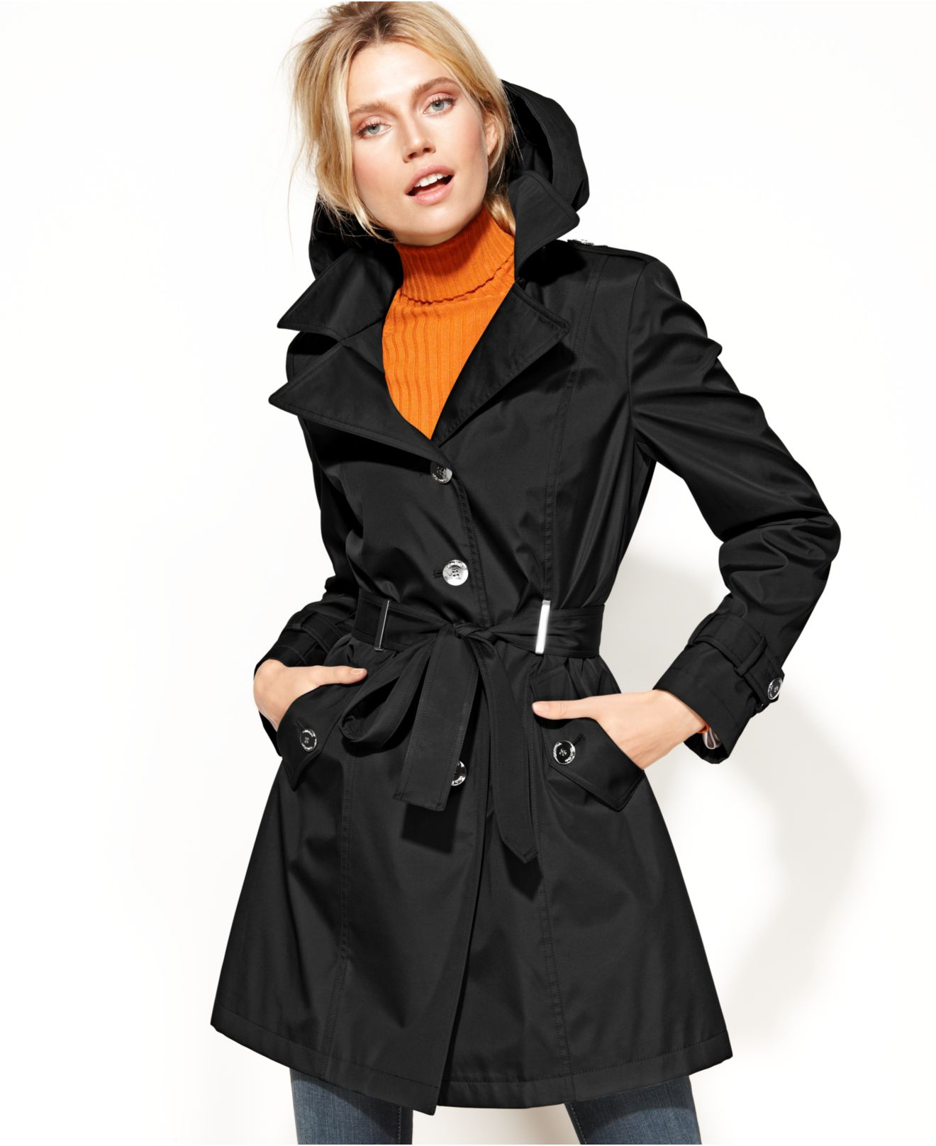 Calvin klein Petite Belted Trench Coat in Black | Lyst