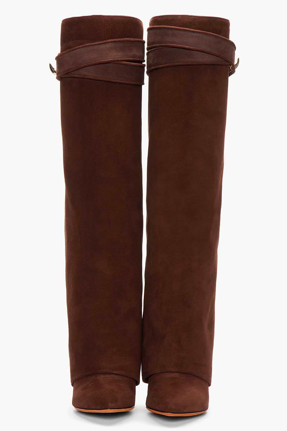 Lyst Givenchy Brown Suede Shark Lock Column Wedge Boots