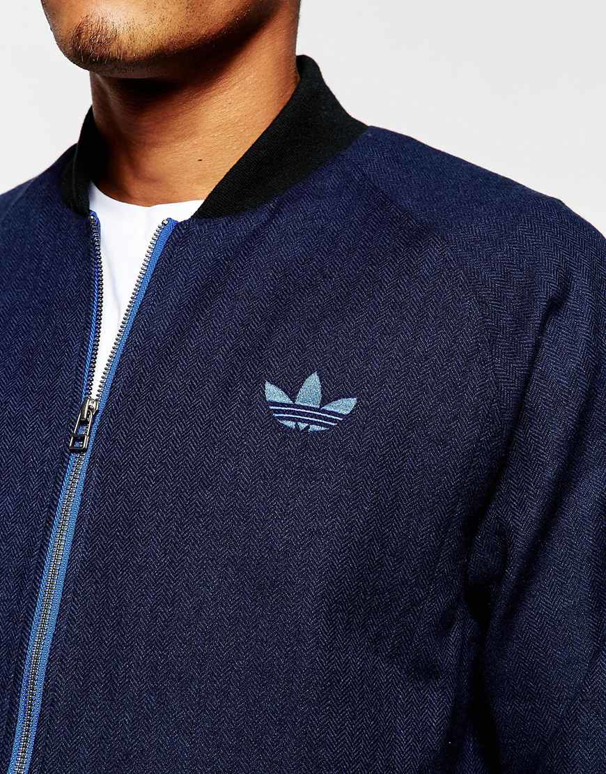Adidas Originals Tweed Bomber Jacket Ab7640 In Blue For