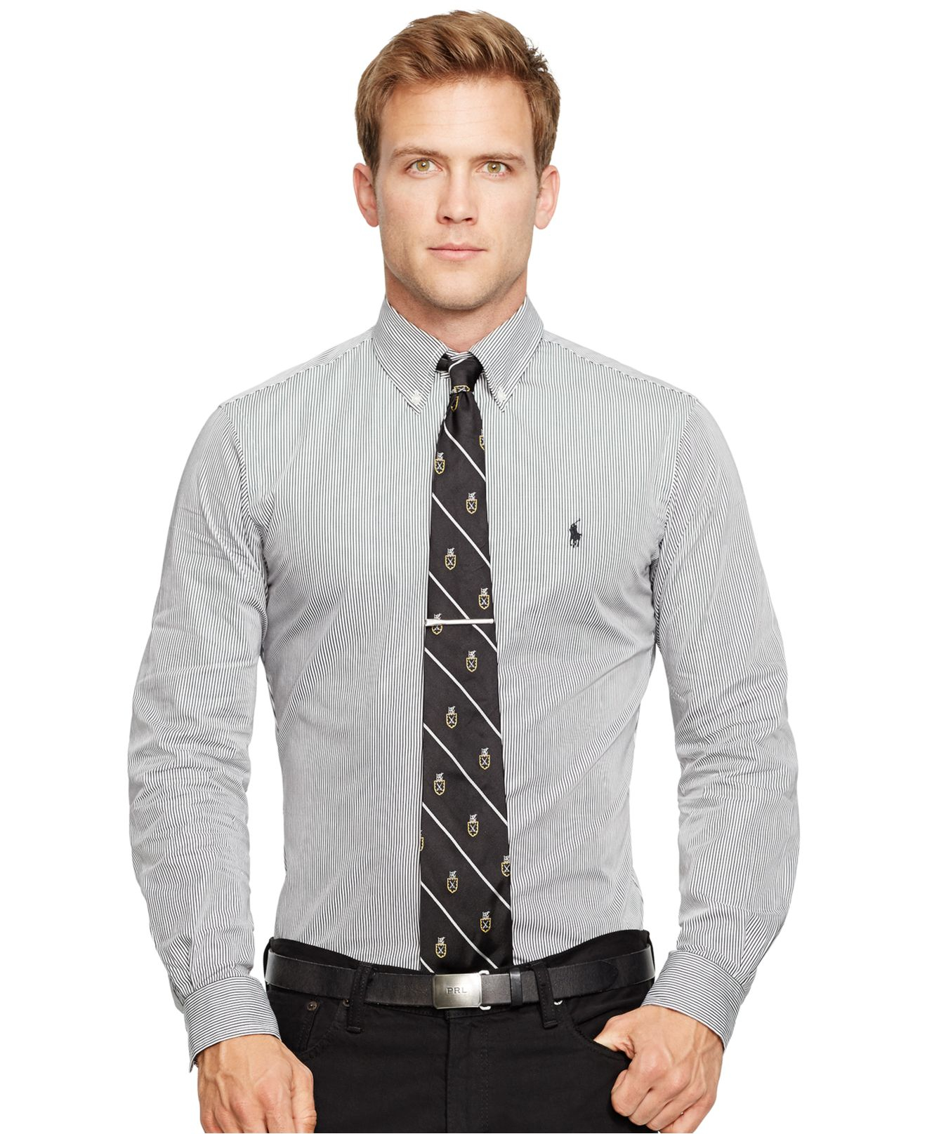 Lyst polo ralph lauren slim fit poplin shirt for men for Slim fit collared shirts