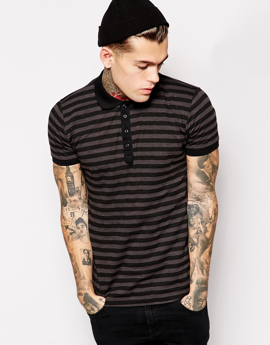 Diesel polo shirt t po slim fit stripe in black for men lyst for Black fitted polo shirt