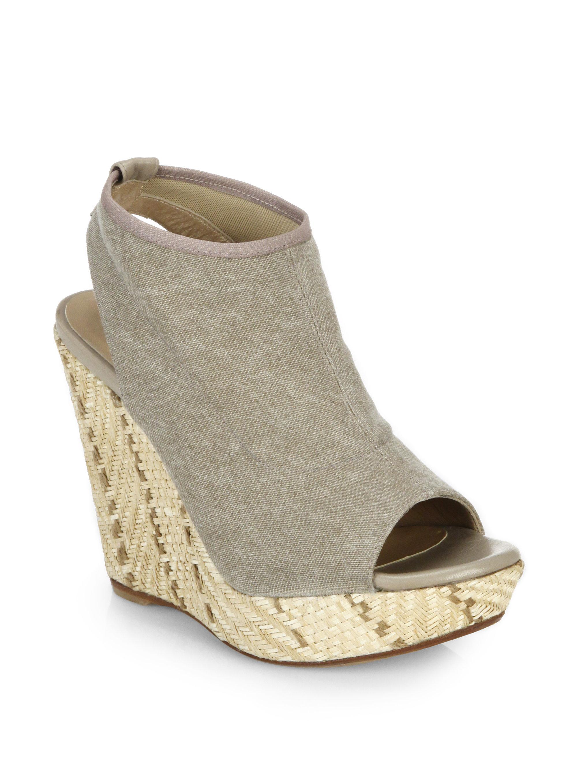 stuart weitzman espadrille wedge sandals in gray lyst