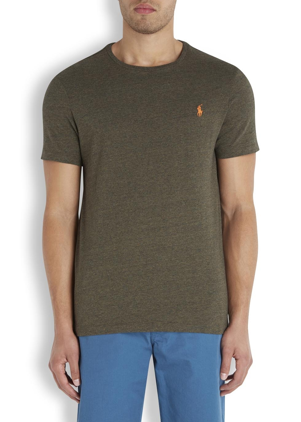 polo ralph lauren olive cotton t shirt in green for men lyst. Black Bedroom Furniture Sets. Home Design Ideas