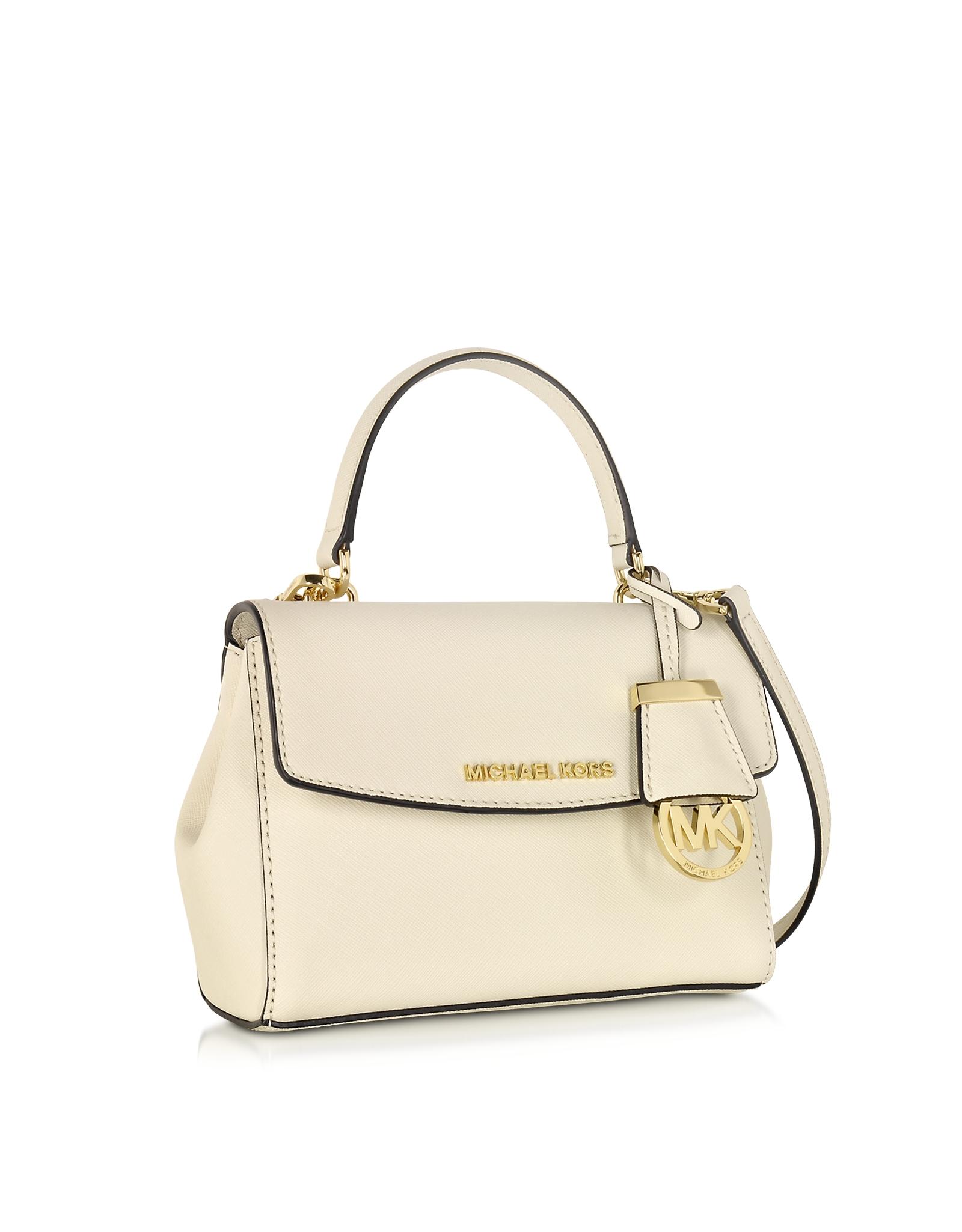 2edc7d1feebc8b Michael Kors Ava Ecru Saffiano Leather Extra Small Crossbody Bag in ...