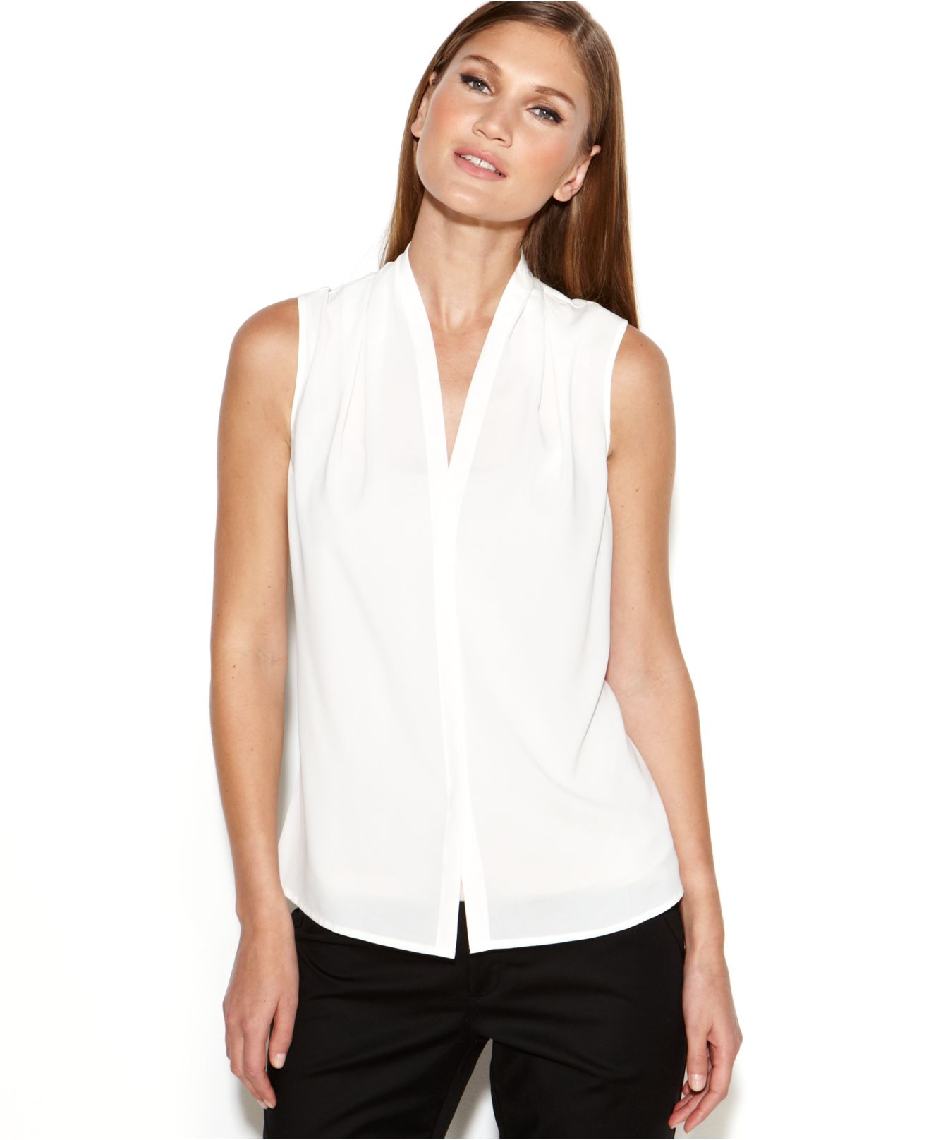 Lyst Calvin Klein Sleeveless Blouse In White