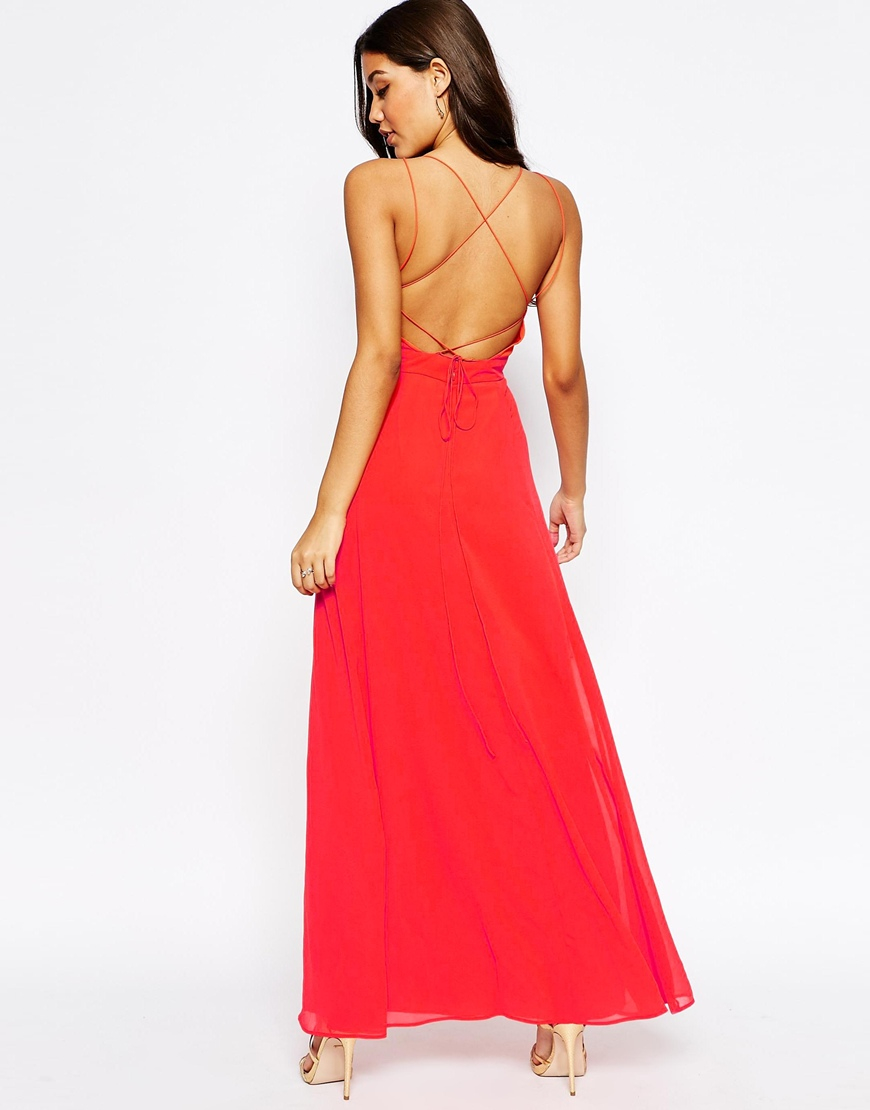 40d25ea7d7e ASOS Deep Plunge Cami Maxi Dress in Red - Lyst