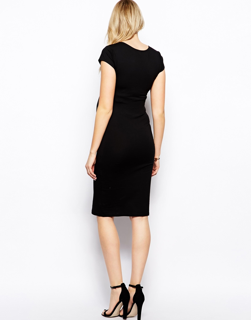 lyst asos bodycon dress with v neck in black. Black Bedroom Furniture Sets. Home Design Ideas