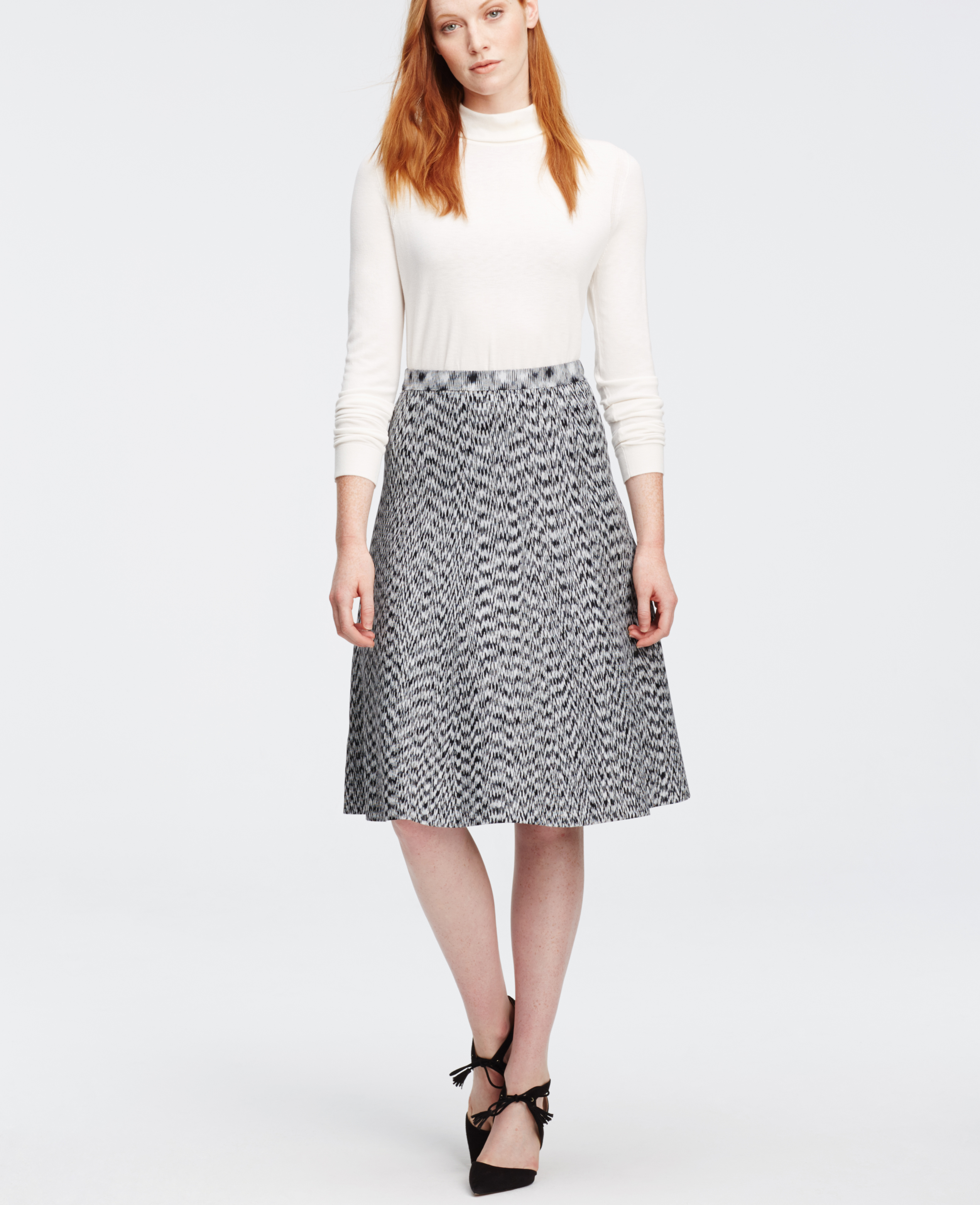 Ann taylor Tall Spacedye Flared Knit Skirt in Gray | Lyst