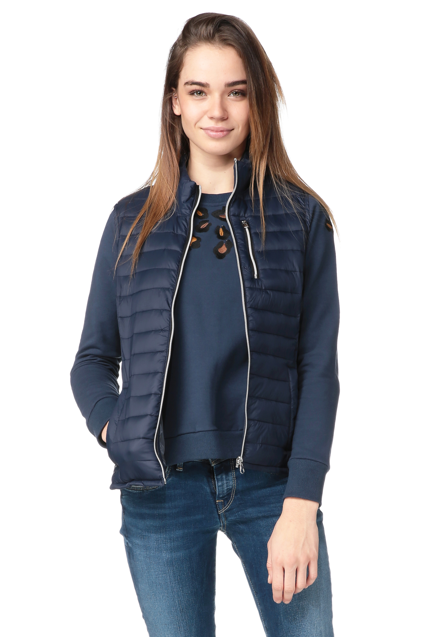 vero moda quilted jacket in blue lyst. Black Bedroom Furniture Sets. Home Design Ideas