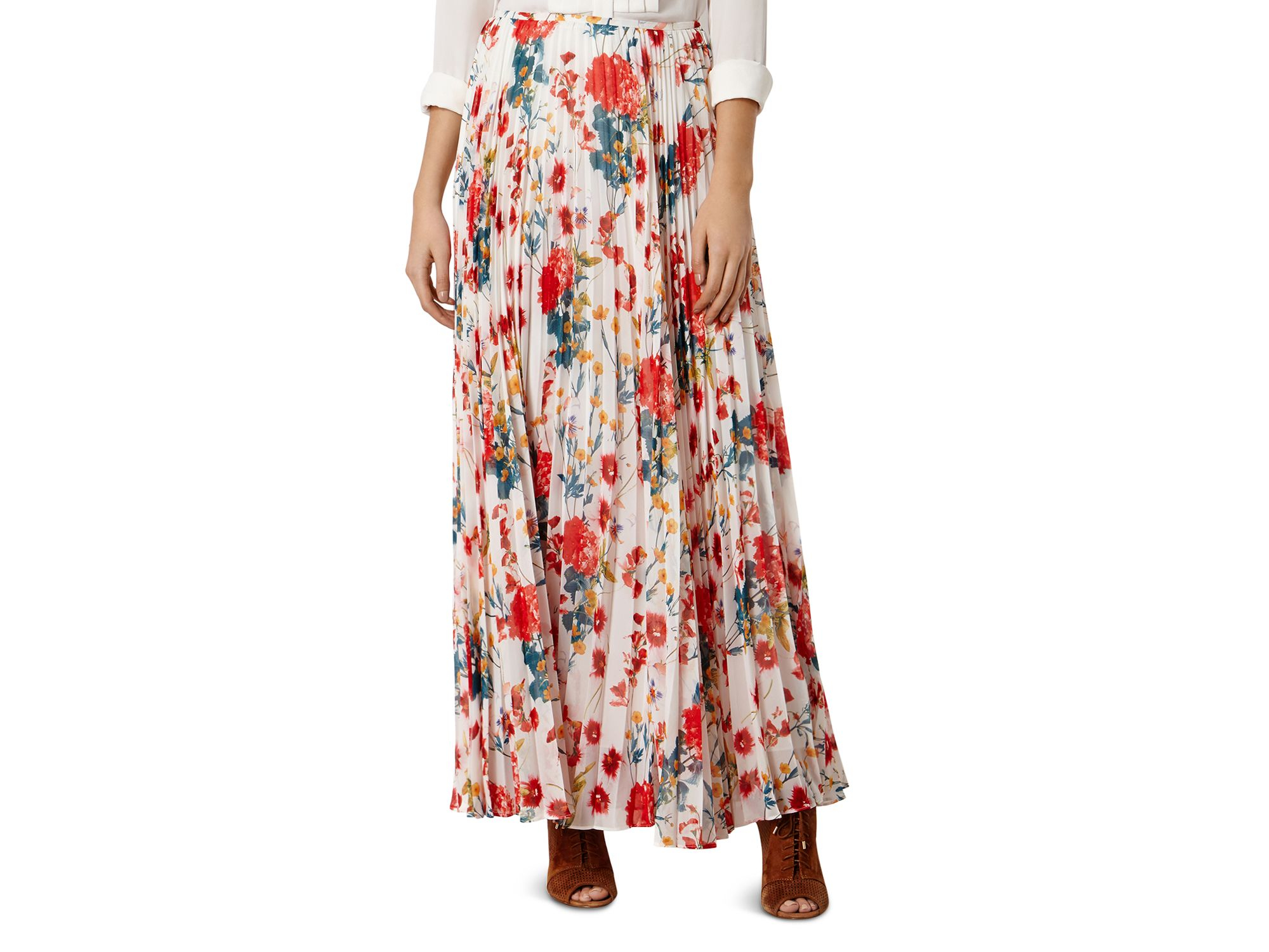 millen floral print maxi skirt in white lyst