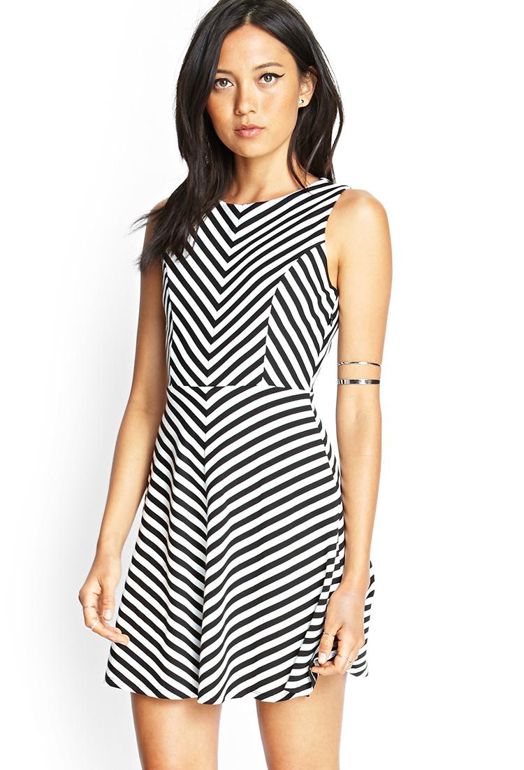 Forever 21 Chevron Striped Cutout Dress In Black (Black/cream) | Lyst