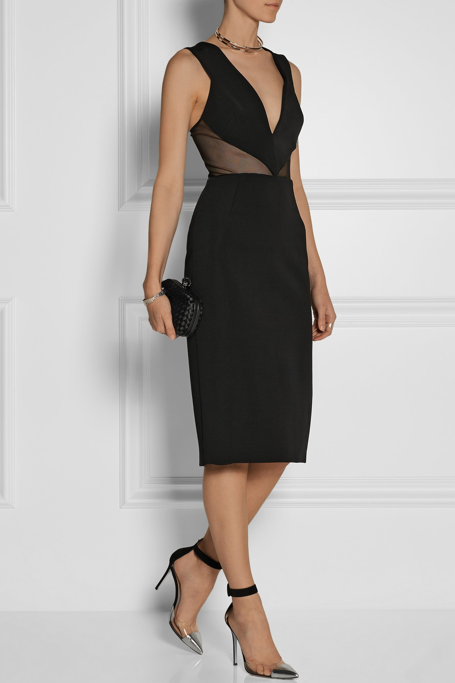 Mesh-paneled Stretch-jersey Midi Dress - Black Cushnie et Ochs Cheap Sale With Paypal Cheap Best Store To Get Outlet Exclusive Official Online Qh89sTY