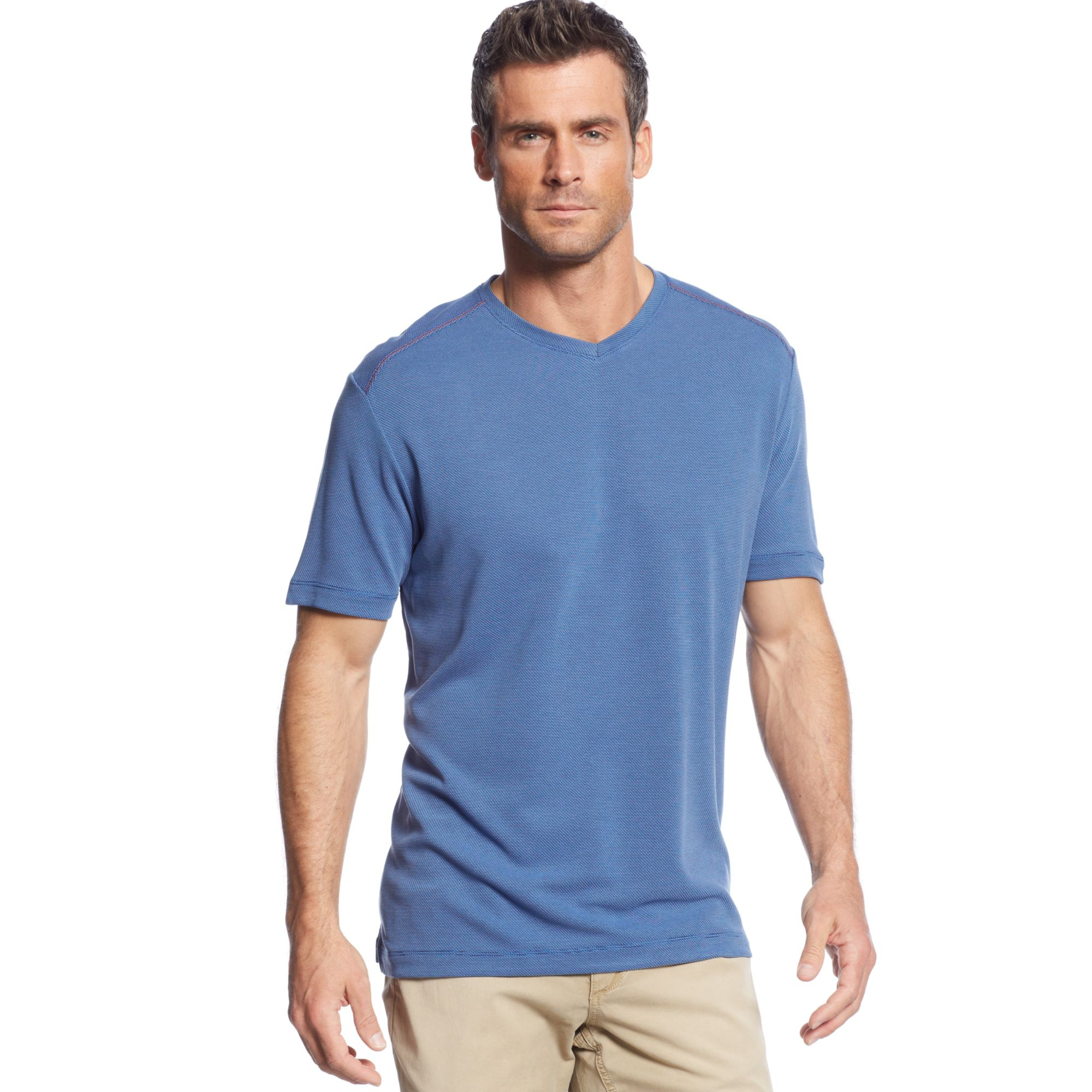 Tommy bahama pebble shore vneck tshirt in blue for men for Tommy bahama christmas shirt 2014