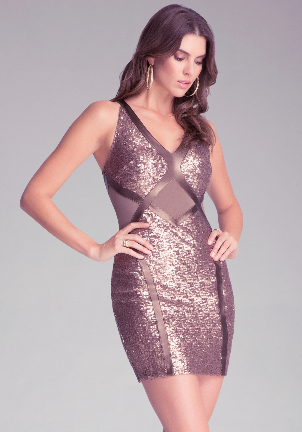 Lyst Bebe Sequin Mesh V Neck Dress In Metallic