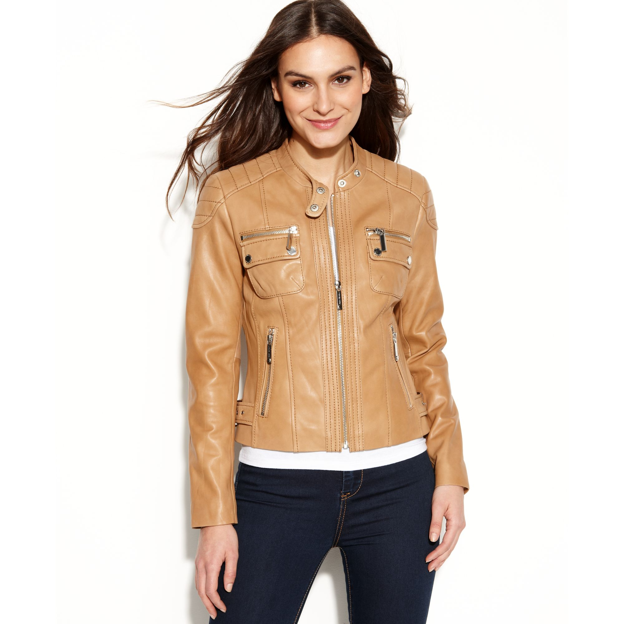 michael kors quilted detail leather motorcycle jacket in brown lyst. Black Bedroom Furniture Sets. Home Design Ideas