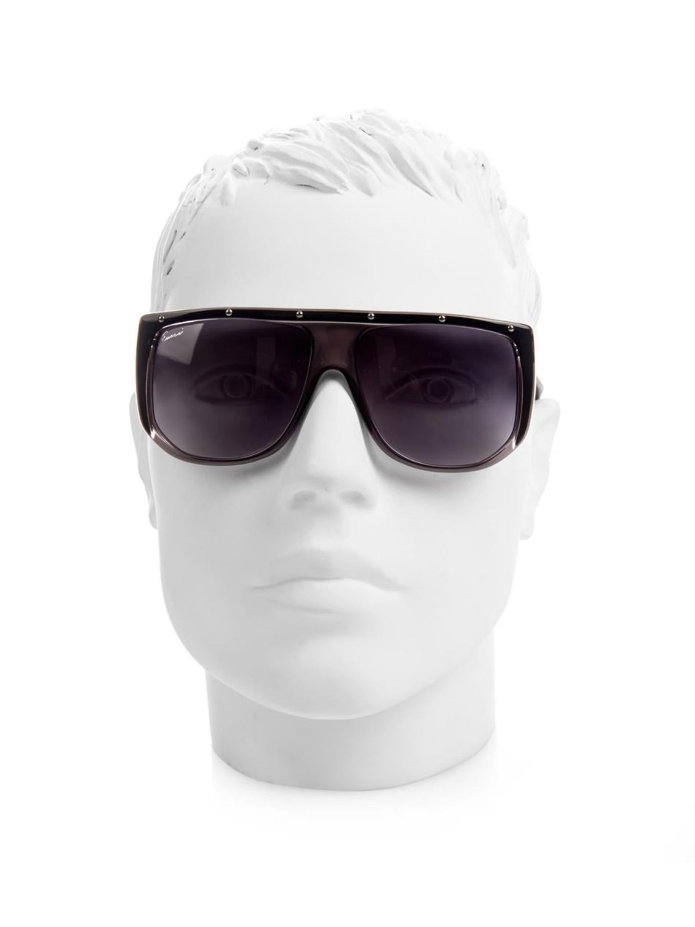 sunglasses aviator style  Gucci Studded Aviator-Style Sunglasses in Black for Men