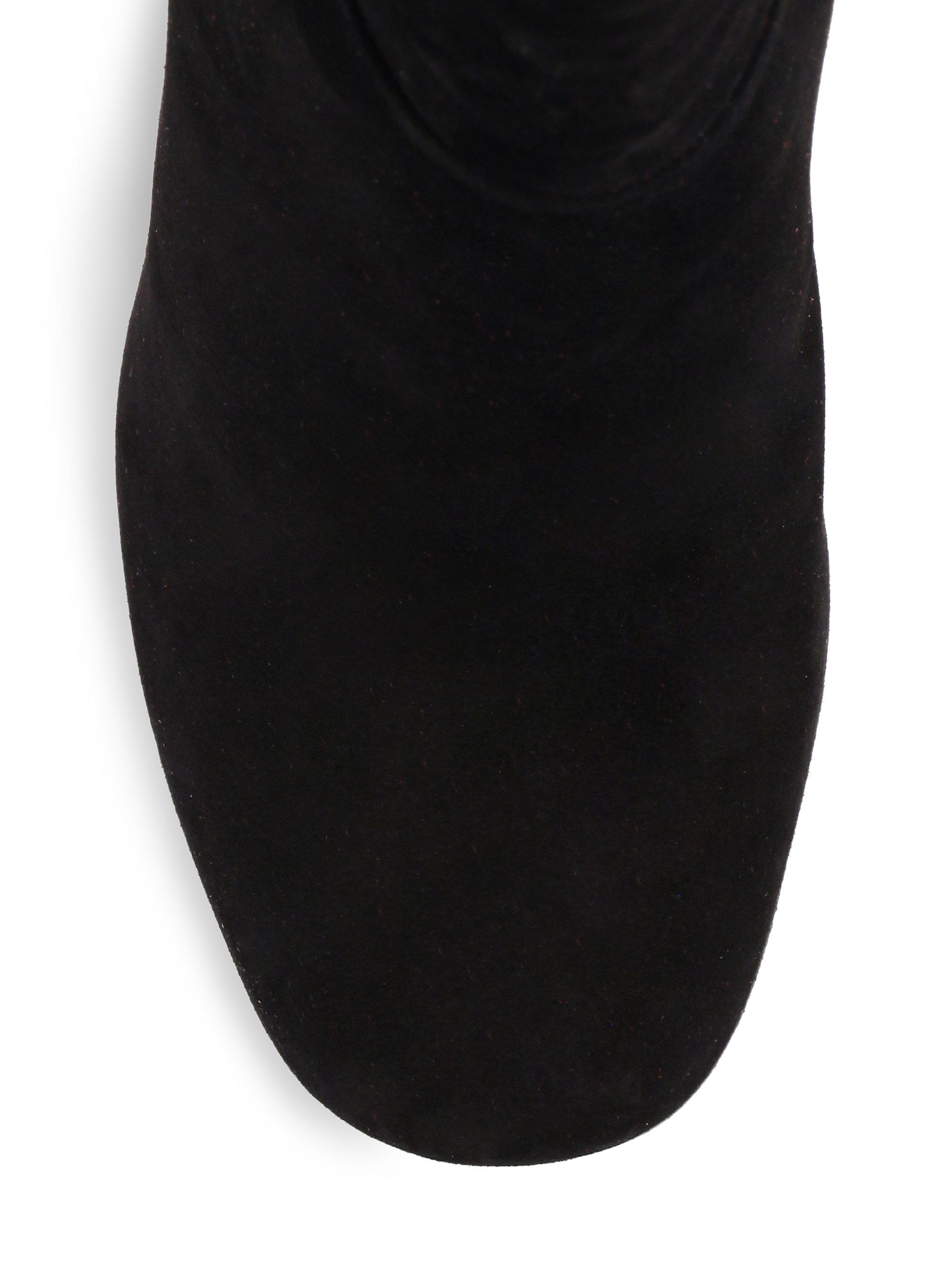 prada suede the knee boots in black lyst