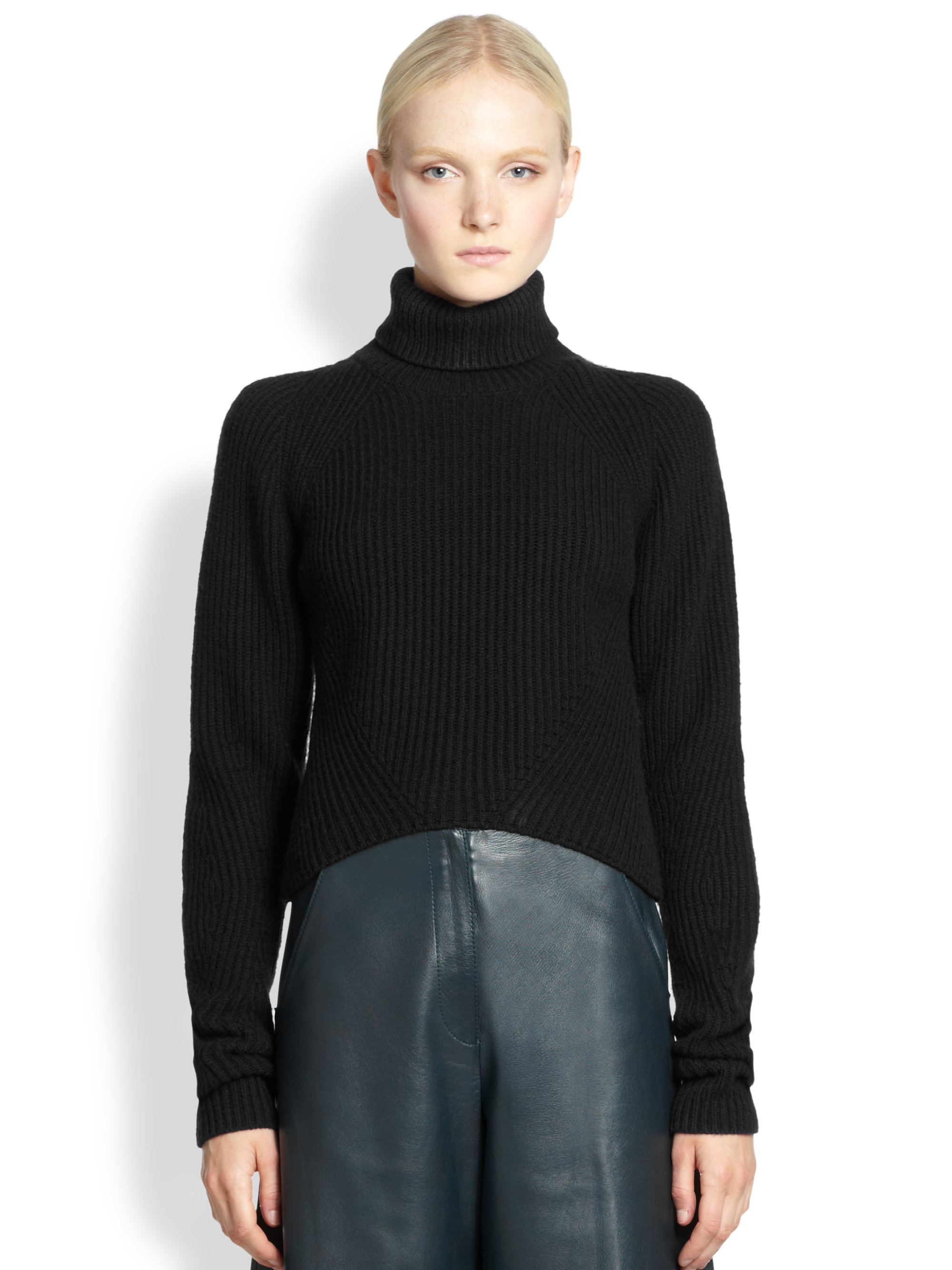 Derek lam Cropped Cashmere Turtleneck Sweater in Black | Lyst