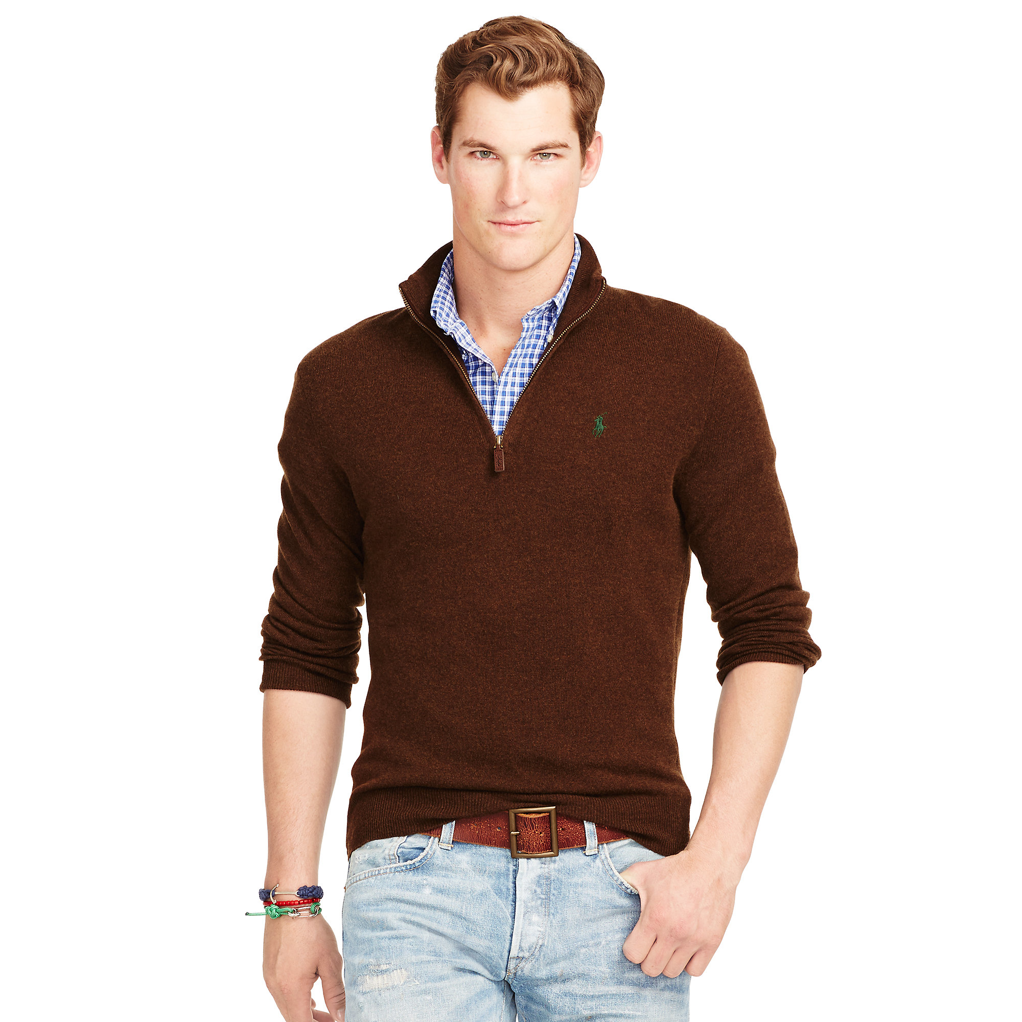 Polo ralph lauren Wool Half-zip Sweater in Brown for Men | Lyst