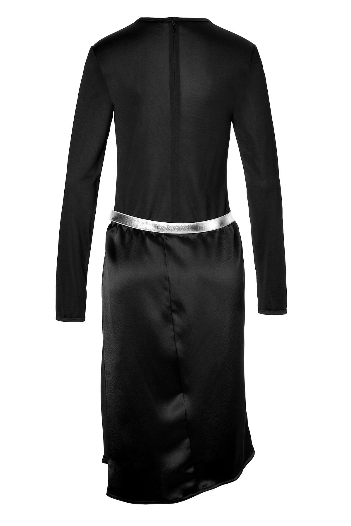paco rabanne satin dress with metallic belt black in