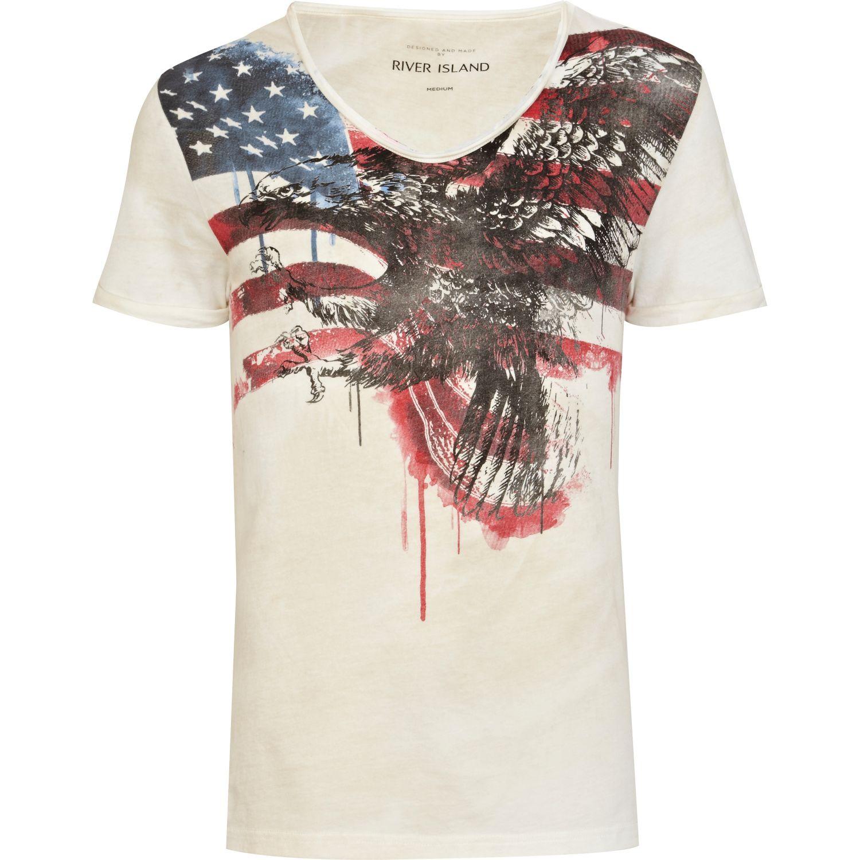 River Island Ecru Eagle Flag Print Low Scoop Neck Tshirt