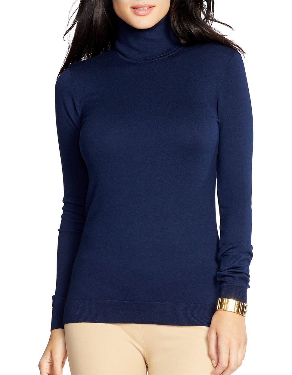 Lauren by ralph lauren Silk-cotton Turtleneck Sweater in Blue | Lyst