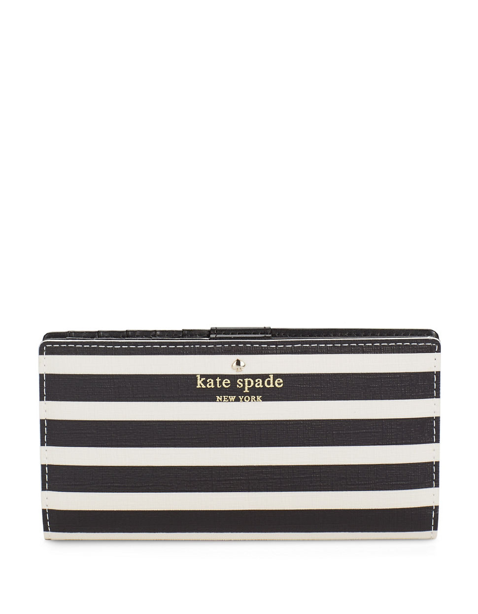 kate spade new york stacy striped leather wallet in black