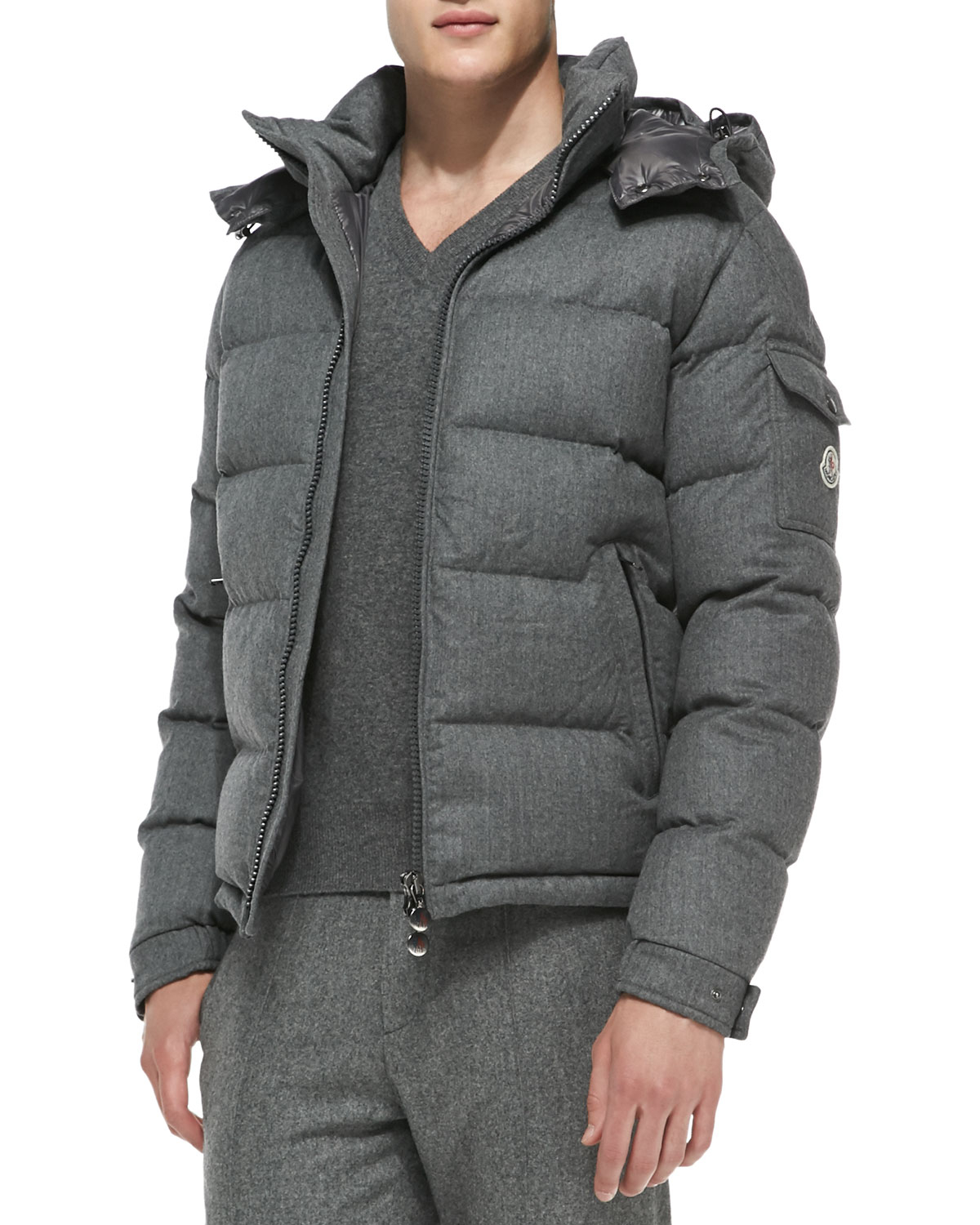Lyst Moncler Mont Genevre Quilted Wool Jacket In Gray