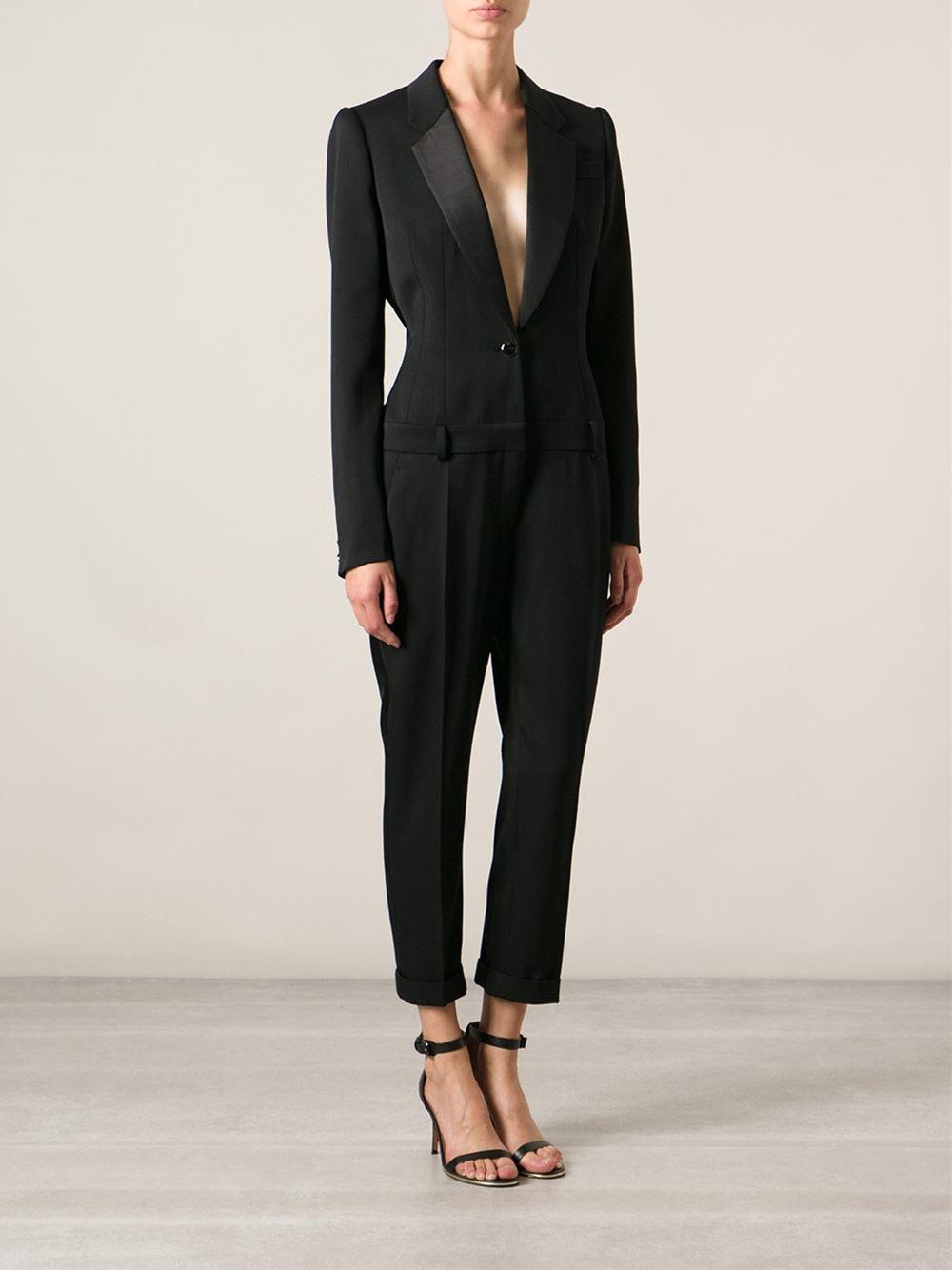 Lyst Alexander Mcqueen Suit Style Jumpsuit In Black