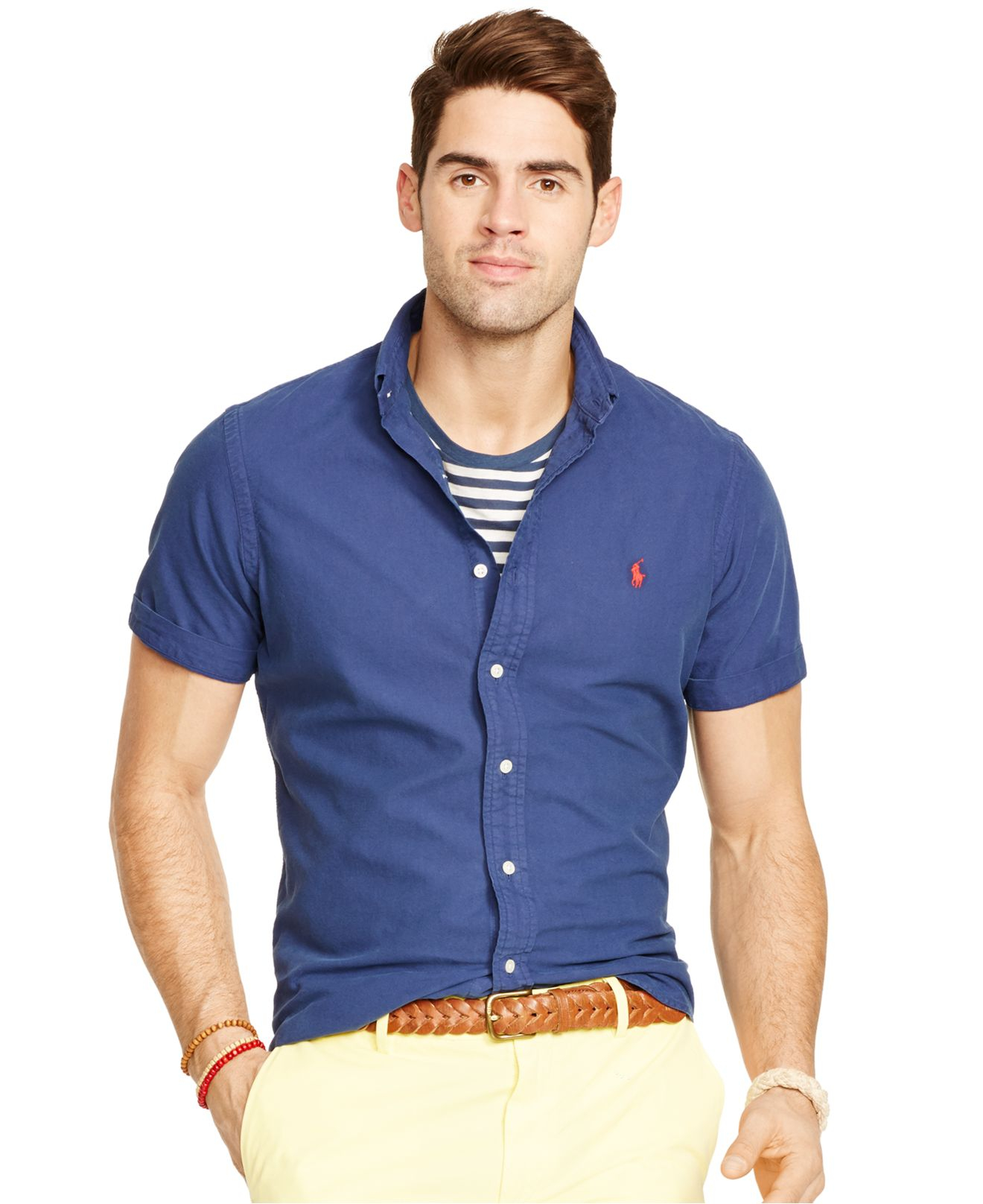 Lyst - Polo Ralph Lauren Short-sleeved Oxford Shirt in Blue for Men 8931df552