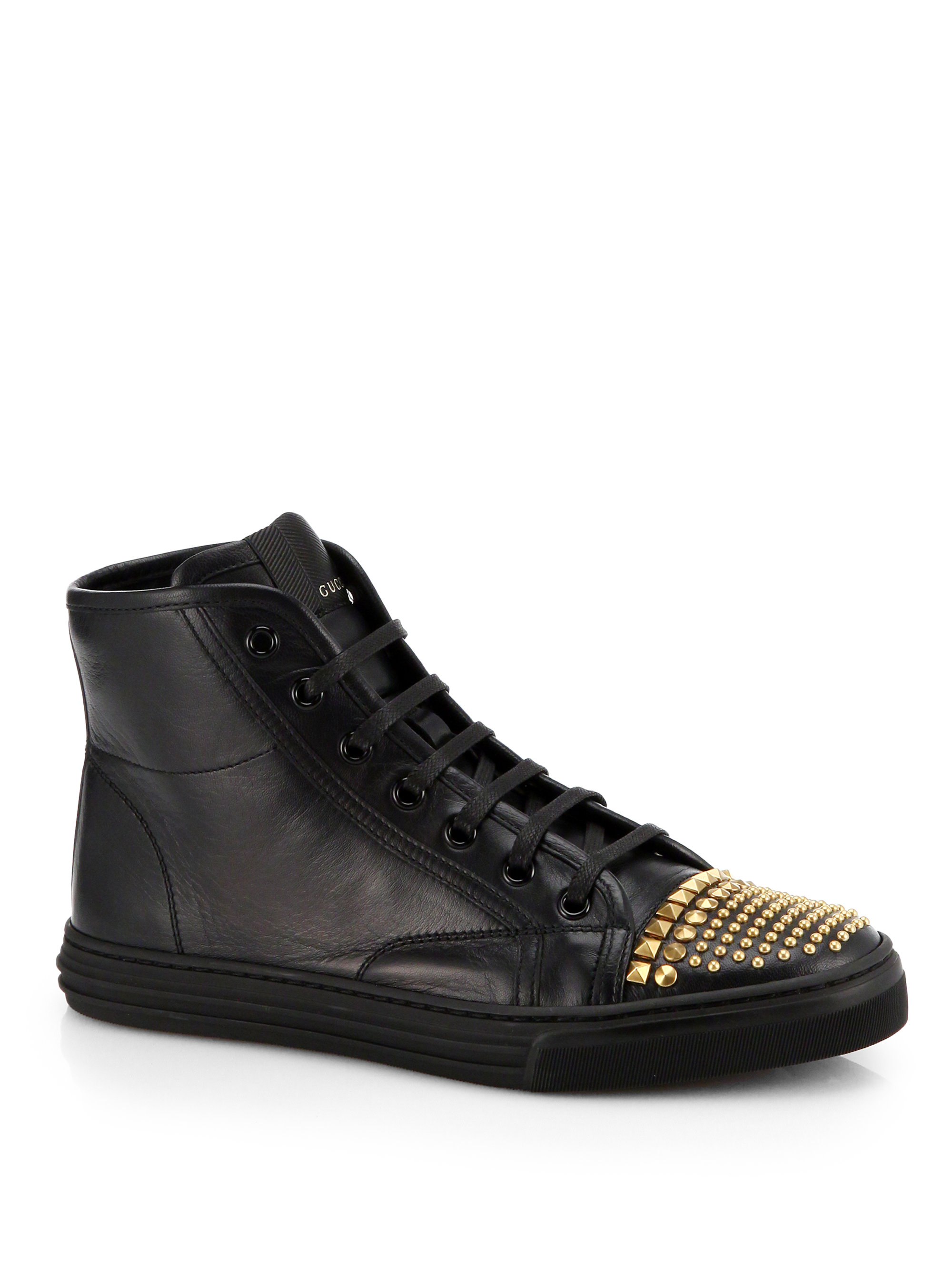 gucci cali leather studded cap toe high top sneakers in. Black Bedroom Furniture Sets. Home Design Ideas