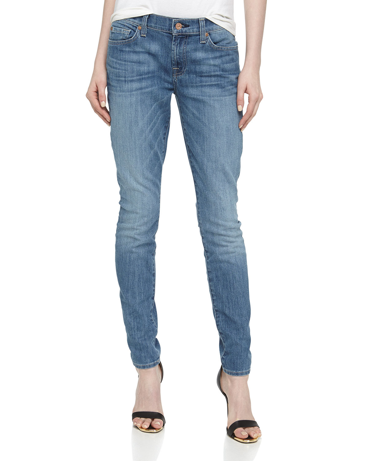 lyst 7 for all mankind gwenevere skinny jeans in blue. Black Bedroom Furniture Sets. Home Design Ideas