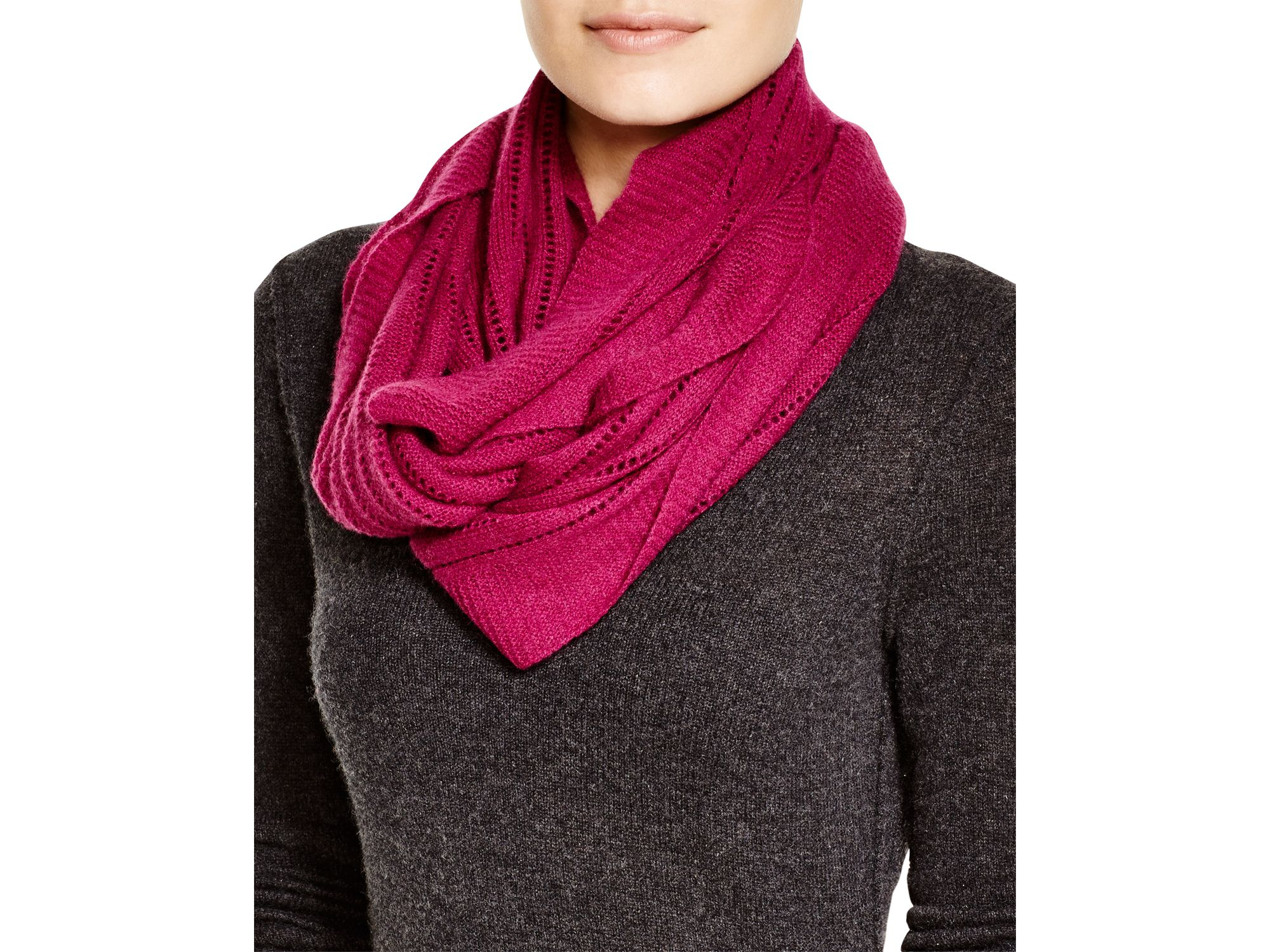 Open Knit Scarf Pattern : C By Bloomingdales Open Knit Cashmere Scarf in Pink (Mulberry) Lyst