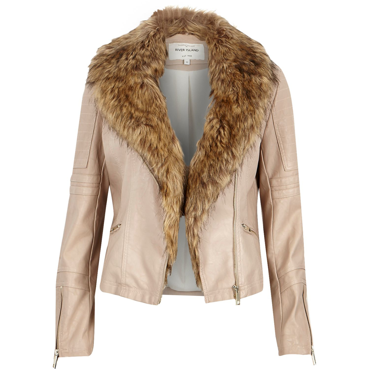b9a789408c49 River Island Cream Leather-look Faux Fur Biker Jacket in Natural - Lyst