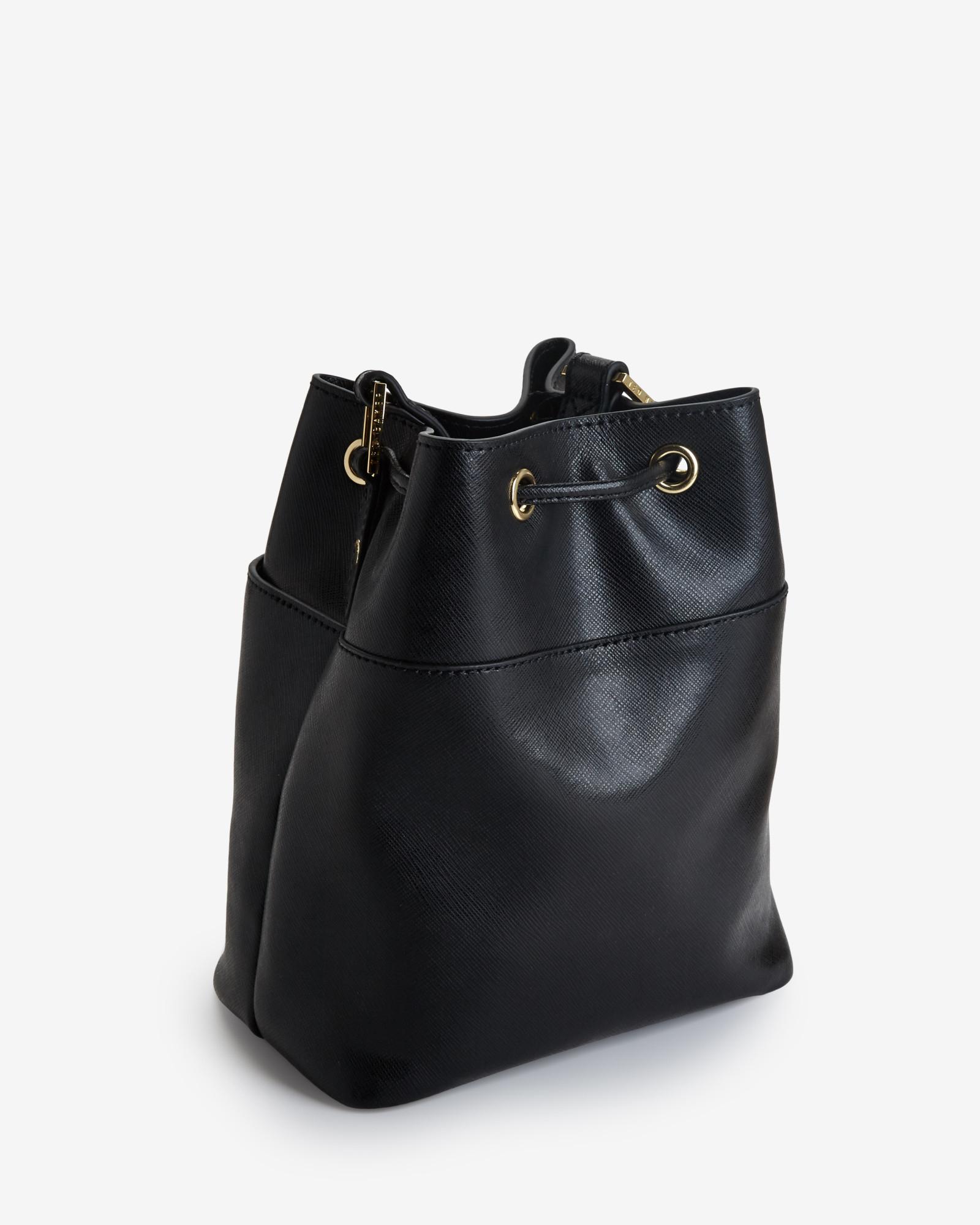 6ebbd836988297 Lyst - Ted Baker Crosshatch Leather Mini Bucket Bag in Black