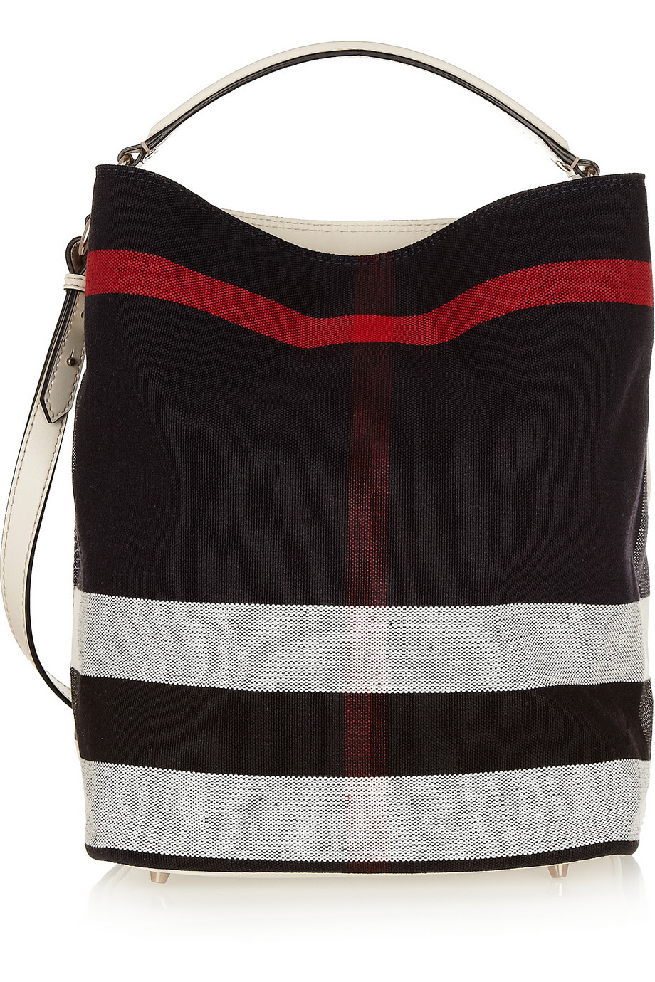 d037d44aa161 Lyst - Burberry Checked Canvas Hobo Bag in Red