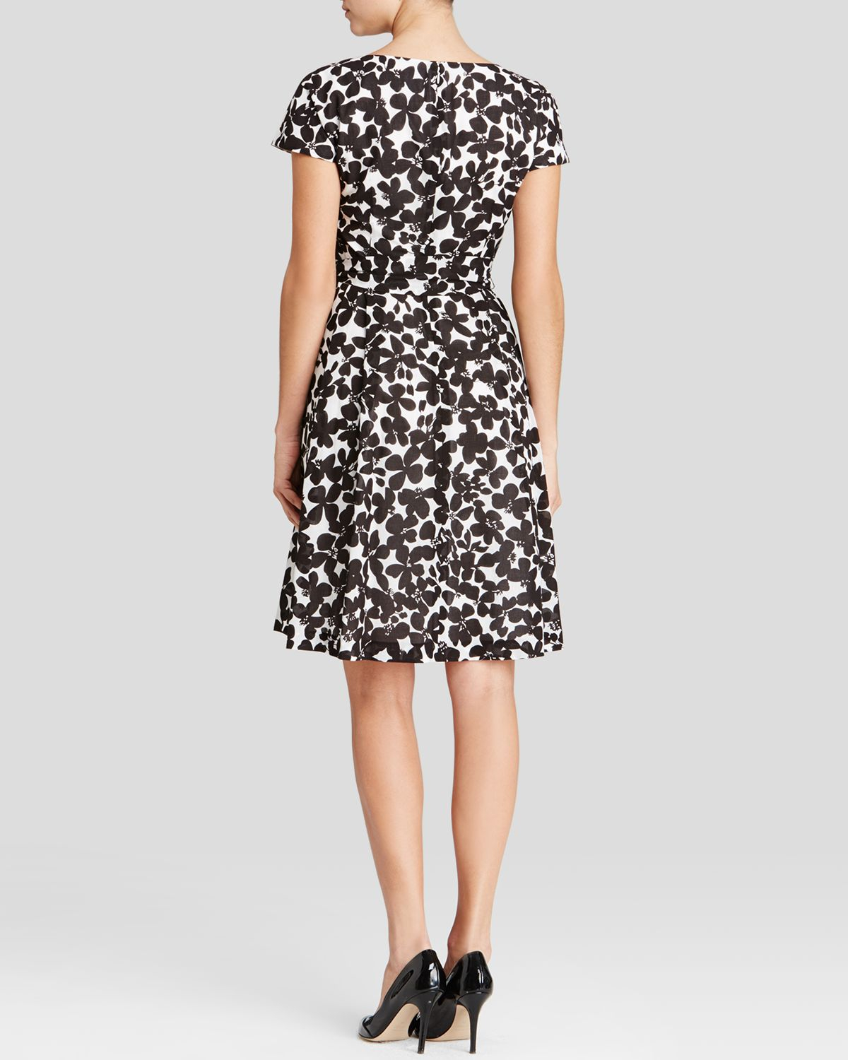Lyst Anne Klein Dress Cap Sleeve Floral Print In Black