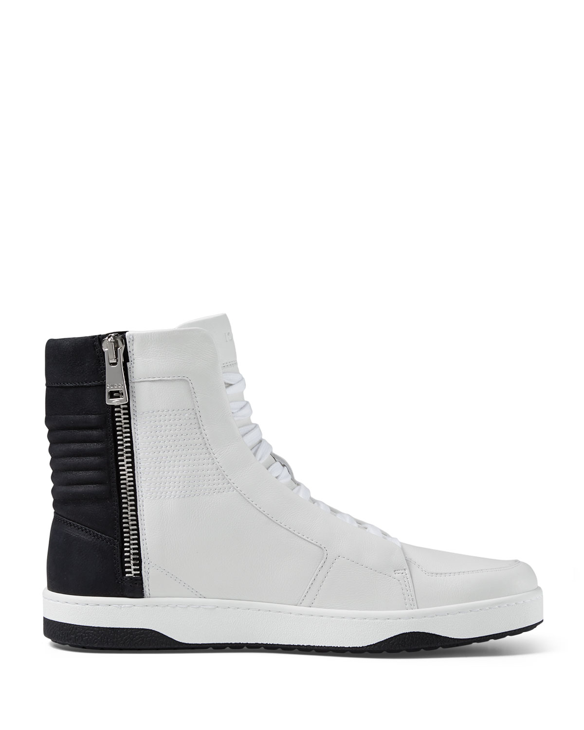 gucci leather high top sneaker with zipper in white lyst. Black Bedroom Furniture Sets. Home Design Ideas