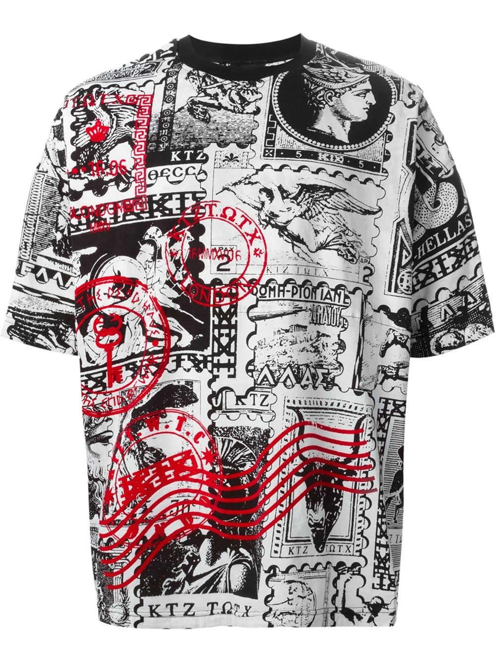 Ktz Oversized Stamp Print T Shirt In Black For Men White
