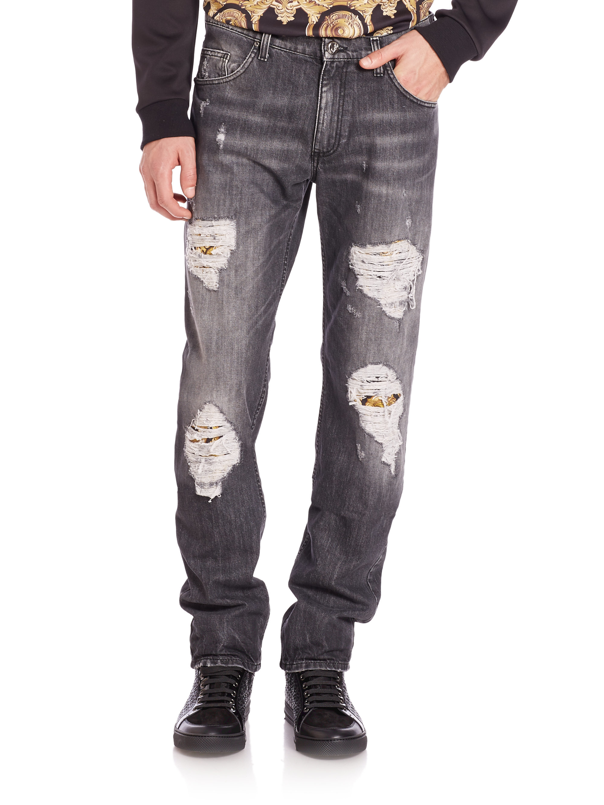 Lyst - Versace Jeans Distressed Straight-leg Jeans in ...