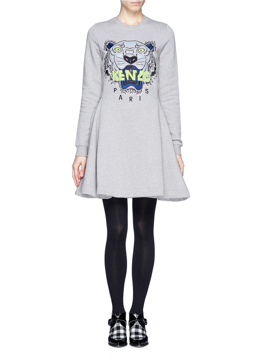 137d1ee76a KENZO Tiger Embroidery Flare Sweatshirt Dress in Gray - Lyst