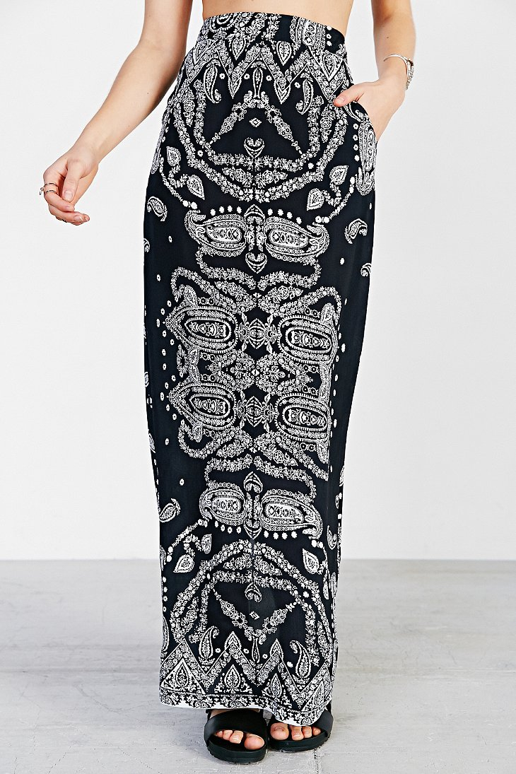 Staring at stars Straight-Cut Boho-Print Maxi Skirt in Black | Lyst